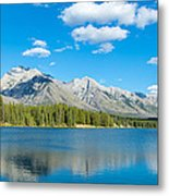 Lake With Mountains In The Background Metal Print