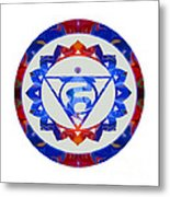 16 Lotus Petals Vishuddha Abstract Chakra Art By Omaste Witkowsk Metal Print
