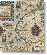 1601 De Bry And De Veer Map Of Nova Zembla And The Northeast Passage Metal Print