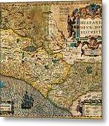 1606 Hondius And Mercator Map Of Mexico Geographicus Hispaniae Nova Mexico Mercator 1606 Metal Print