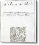 1627 Francis Bacon New Atlantis Frontis Metal Print