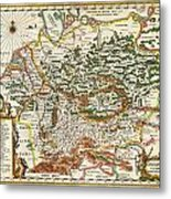 1657 Jansson Map Of Germany Germania Geographicus Germaniae Jansson 1657 Metal Print