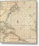 1683 Mortier Map Of North America The West Indies And The Atlantic Ocean  1683 Metal Print