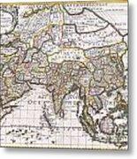 1687 Sanson  Rossi Map Of Asia Metal Print