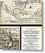1688 Hennepin First Book And Map Of North America First Printed Map To Name Louisiana Geographicus N Metal Print