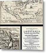 1688 Hennepin First Book And Map Of North America Metal Print