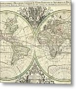 1691 Sanson Map Of The World On Hemisphere Projection Metal Print