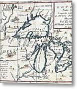 1696 Coronelli Map Of The Great Lakes Most Accurate Map Of The Great Lakes In The 17th Century Geogr Metal Print