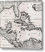 1696 Danckerts Map Of Florida The West Indies And The Caribbean Geographicus Westindies Dankerts 169 Metal Print