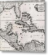 1696 Danckerts Map Of Florida The West Indies And The Caribbean Metal Print