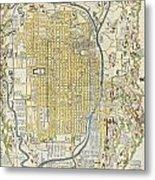 1696 Genroku 9 Early Edo Japanese Map Of Kyoto Japan Metal Print