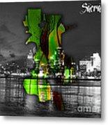 Sacramento Map And Skyline Watercolor Metal Print