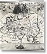1700 Cellarius Map Of Asia Europe And Africa According To Strabo Metal Print