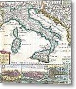 1706 De La Feuille Map Of Italy Metal Print