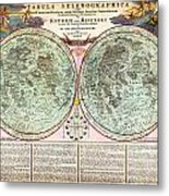 1707 Homann And Doppelmayr Map Of The Moon Geographicus Tabulaselenographicamoon Doppelmayr 1707 Metal Print
