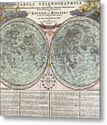 1707 Homann And Doppelmayr Map Of The Moon  Metal Print