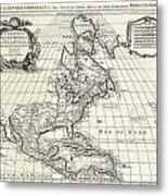 1708 De Lisle Map Of North America Covens And Mortier Ed Geographicus Ameriqueseptentrionale Covensm Metal Print