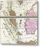 1710 Ottens Map Of Southeast Asia Singapore Thailand Siam Malaysia Sumatra Borneo Metal Print
