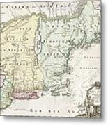 1716 Homann Map Of New England Metal Print