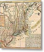 1729 Moll Map Of New York New England And Pennsylvania  Metal Print