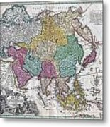 1730 C Homann Map Of Asia Geographicus Asiae Homann 1730 Metal Print