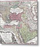 1730 Seutter Map Of Turkey Ottoman Empire Persia And Arabia Metal Print