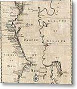 1730 Van Verden Map Of The Caspian Sea Metal Print
