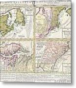 1737 Homann Heirs Map Of New England Georgia And Carolina And Virginia And Maryland Metal Print