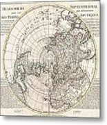 1741 Covens And Mortier Map Of The Northern Hemisphere  North Pole Arctic Metal Print