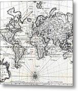 1748 Antique World Map Versuch Von Einer Kurzgefassten Karte  Metal Print