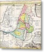 1750 Homann Heirs Map Of Israel Palestine Holy Land 12 Tribes Geographicus Palestina Homannheirs 175 Metal Print