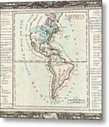 1760 Desnos And De La Tour Map Of North America And South America Metal Print