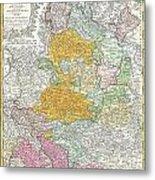 1761 Homann Heirs Map Of Westphalia  Metal Print