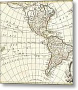 1762 Janvier Map Of North America And South America  Metal Print