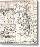 1763 Gibson Map Of East And West Florida Metal Print by Paul Fearn