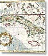 1763 Terreni  Coltellini Map Of Cuba And Jamaica Metal Print