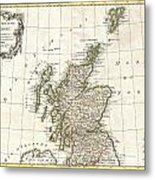 1772 Bonne Map Of Scotland  Metal Print