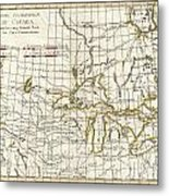 1775 Bonne Map Of The Great Lakes And Upper Mississippi  Metal Print