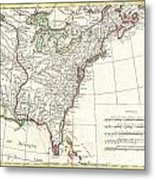 1776 Bonne Map Of Louisiana And The British Colonies In North America Metal Print
