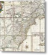1779 Phelippeaux Case Map Of The United States During The Revolutionary War Metal Print