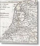 1780 Raynal And Bonne Map Of Holland And Belgium Metal Print
