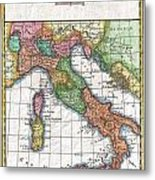 1780 Raynal And Bonne Map Of Italy Metal Print