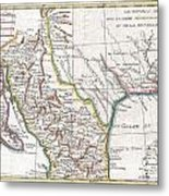 1780 Raynal And Bonne Map Of Mexico And Texas  Metal Print