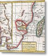 1780 Raynal And Bonne Map Of South Africa Zimbabwe Madagascar And Mozambique Metal Print