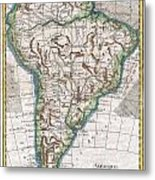 1780 Raynal And Bonne Map Of South America Metal Print
