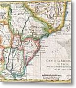 1780 Raynal And Bonne Map Of Southern Brazil Northern Argentina Uruguay And Paraguay Metal Print
