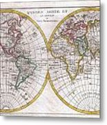 1780 Raynal And Bonne Map Of The Two Hemispheres Metal Print