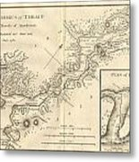 1784 Bocage Map Of The Bosphorus And The City Of Byzantium  Istanbul  Constantinople Metal Print