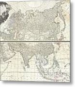 1784 D Anville Wall Map Of Asia Metal Print