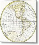 1785 Clouet Map Of North America And South America Metal Print